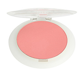 Pink blush on a white background.