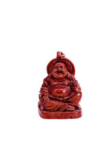 brown statuette of east god from a stone on a white background