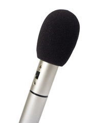Mic on white background with foam windscreen.