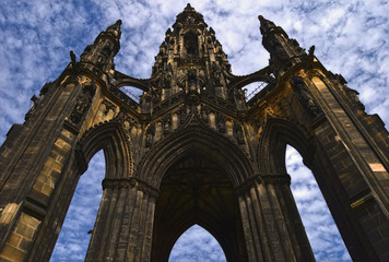 A perspective view of the Scott Memorial in Edinburgh