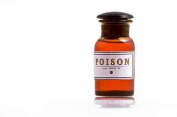 old brown glass bottle with poison