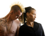 Man with Mohawk and Woman wearing Dreadlocks poster
