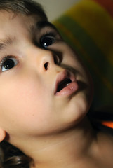 boy looking at something frightening