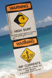 Surf and Currents Warning Sign on a beach in Hawaii poster