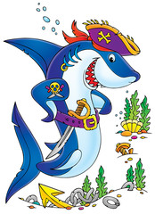Shark Pirate (clip-art with black contour)