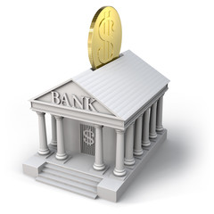 Money box bank with dollar coin