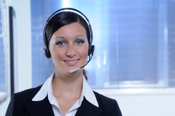 Smile,woman and call centre