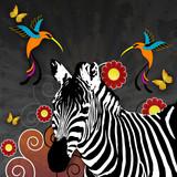 Illustration mit Zebra und Kolibris-