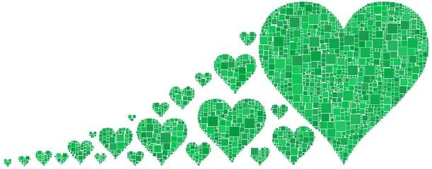 Serie di cuori verde