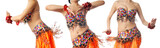 Three dancing trainers in the orange traditional costume poster