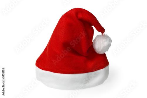 Czerwony Santa kapelusz odizolowywający na czystym białym tle