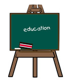 chalkboard easel with education written on the board poster