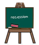 the word recession written on a chalkboard easel poster