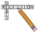 pencil filling in crossword with recession and debts poster