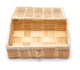 wooden woven box isolated on white poster