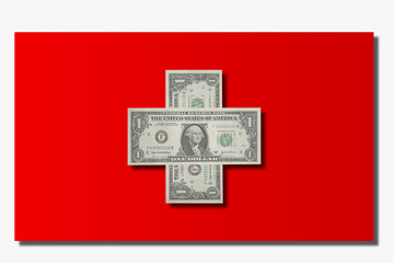 Swiss flag and dollars
