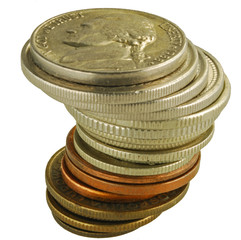 Coins tower on white background
