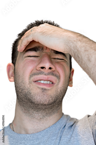 poster of A young man grasps his head in anguish from pain