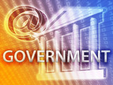 Electronic government illustrated by building and data poster