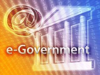 Electronic government illustrated by building and data