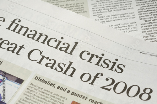 Newspaper headlines - finanical crisis on 2008 - 9965704