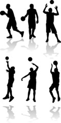 vector silhouette of basketball player