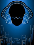 Amplified music city in blue mood poster