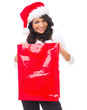 Beautiful woman holding red bag and wearing santa hat