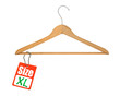 coat hanger and XL size tag on white