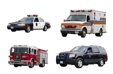 A set of emergency vehicles isolated