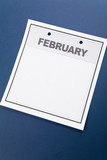 Blank Calendar, February, with blue background poster