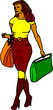 vector - woman shopping with bags