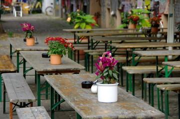 Tables et cjaise de terrasse, Bar, Allemagne, Berlin.