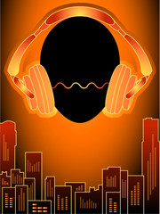 Head with headphones over amplified orange city buildings