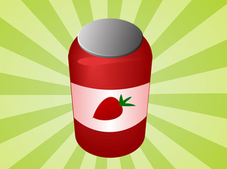Jar of strawberry jam with label  illustration