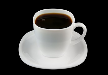 White cup of coffee isolated on black