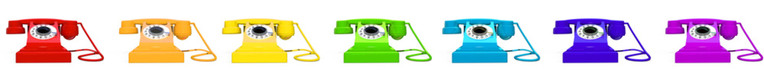 Red retro telephone on white background 3d image