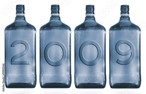Bottles with figure 2009 on a white background