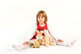 Minded little girl with plush toys poster