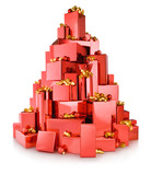 pile of red gift boxes in the shape of tree