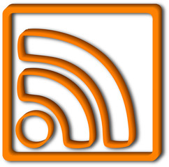 3D RSS icon with shadow