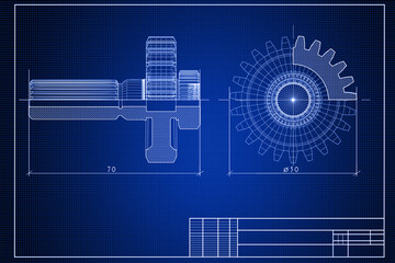 Close-up of blueprint background with gears