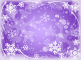 white snowflakes over violet background with feather corners