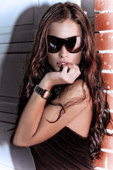 pretty woman with sunglasses, outdoor shot