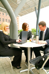 business people working together as a team outdoor