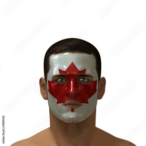 Portrait of a male with a Canadian flag painted on his face.