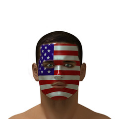 Portrait of a male with a American flag painted on his face.