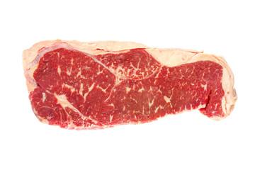 Raw grain-fed porterhouse steak, isolated on white.
