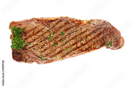 Grilled porterhouse beef steak, isolated on white.