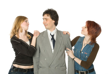 A man choosing between two young women